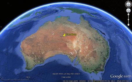 Localisation des cratères d'Henbury au centre de l'Australie, Territoire du Nord