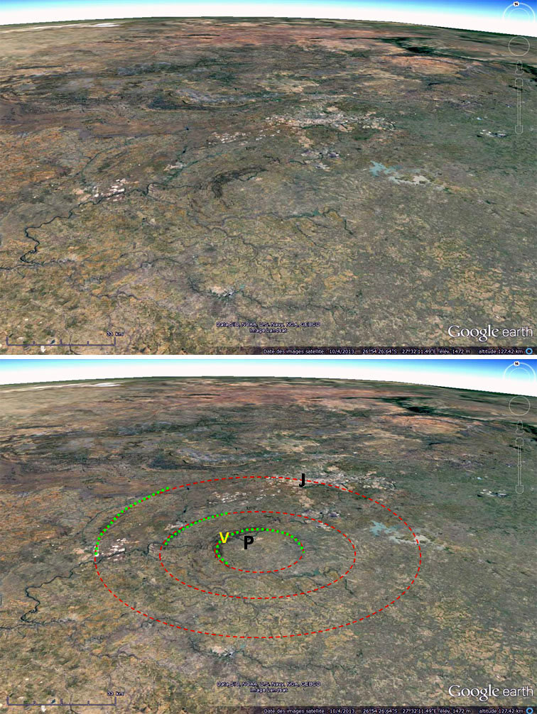 Vues brute et sommairement interprétée de la structure de Vredefort, Afrique du Sud
