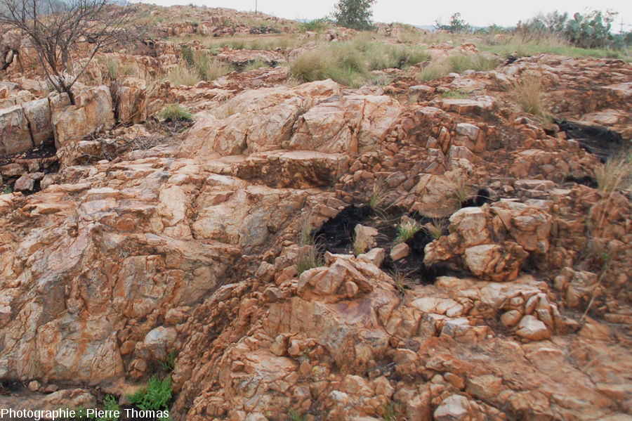 Gros plan sur la limite subtratum / brèche - site de Bobbejaanrant, Afrique du Sud