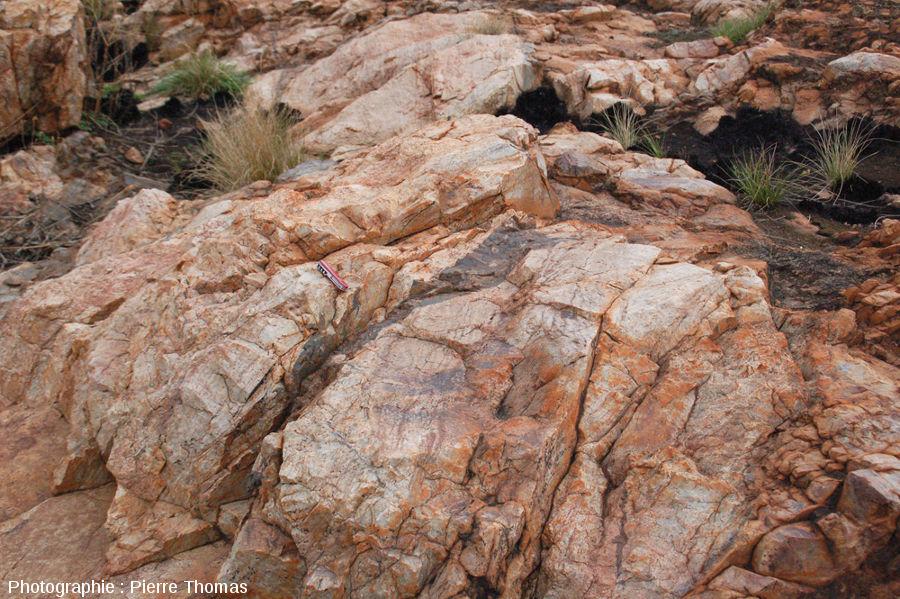 Poche de pseudotachylite, site de Bobbejaanrant, Afrique du Sud