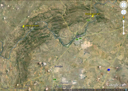 Localisation des sites de Bobbejaanrant (brèches et psedudotachylites) et de Venterskroon (shatter-cones) dans la région de Parys-Vredefort (Afrique du Sud)
