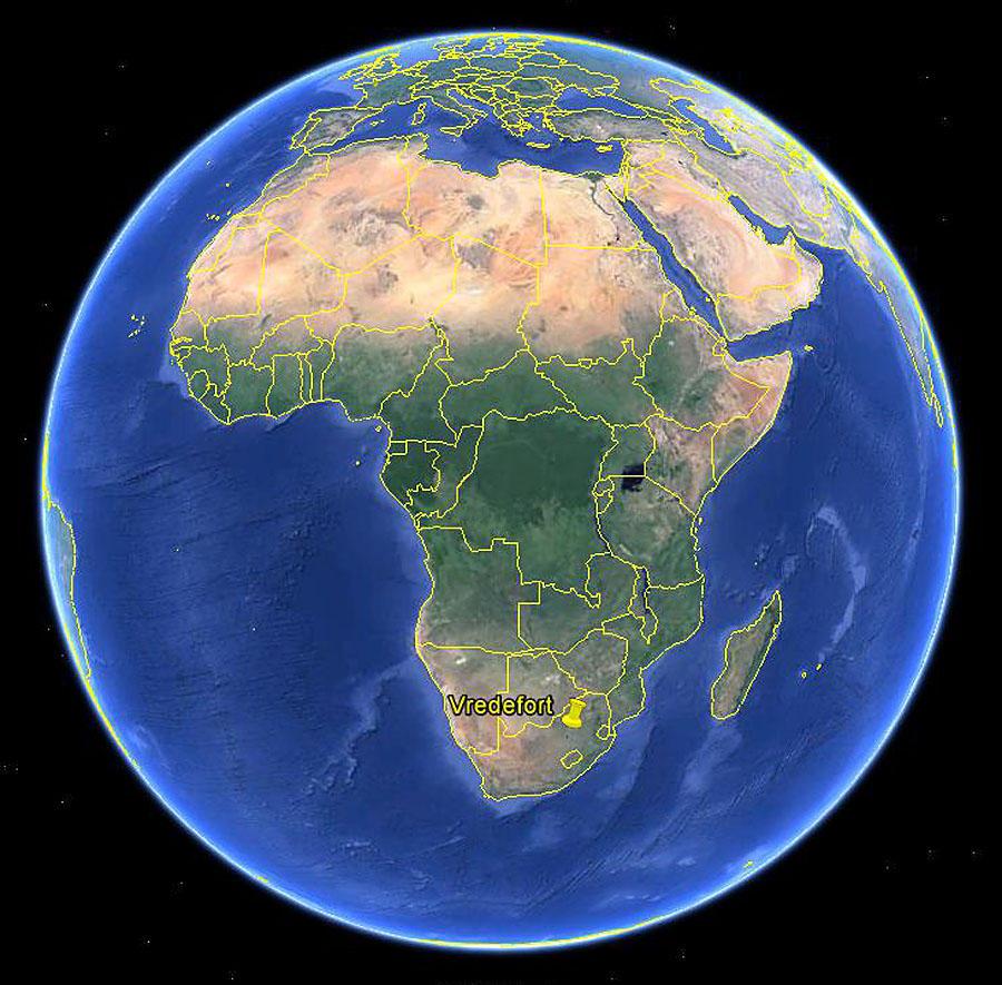Localisation de la structure de Vredefort en Afrique du Sud