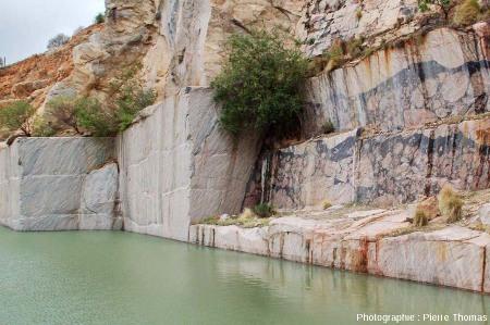 Vue générale sur une paroi verticale recoupant perpendiculairement la bordure d'une veine pseudotachylitique, carrière de Leeukop, Afrique du Sud