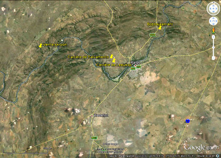 Localisation des carrières de Salvamento et de Leeukop dans la région de Parys, Afrique du Sud