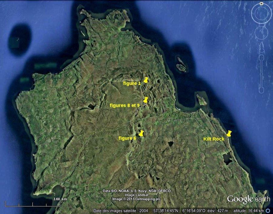Localisation de la péninsule de Trotternish, Nord-Est de l'île de Skye, Écosse