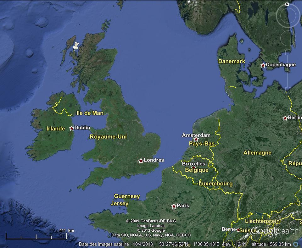 Localisation de l'île de Skye (punaise blanche), au Nord-Ouest de l'Écosse