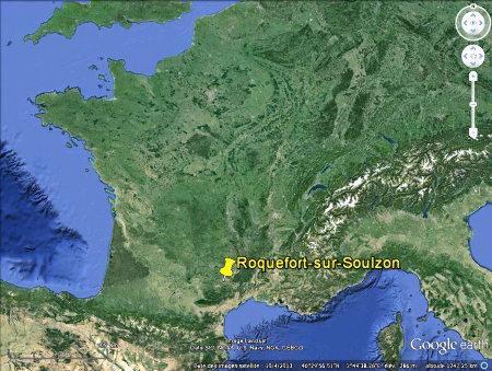 Localisation de Roquefort sur Soulzon (Aveyron)