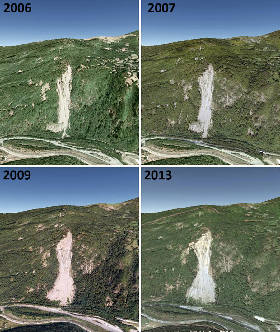 Évoution du glissement de terrain de Séchilienne de 2006 à 2013