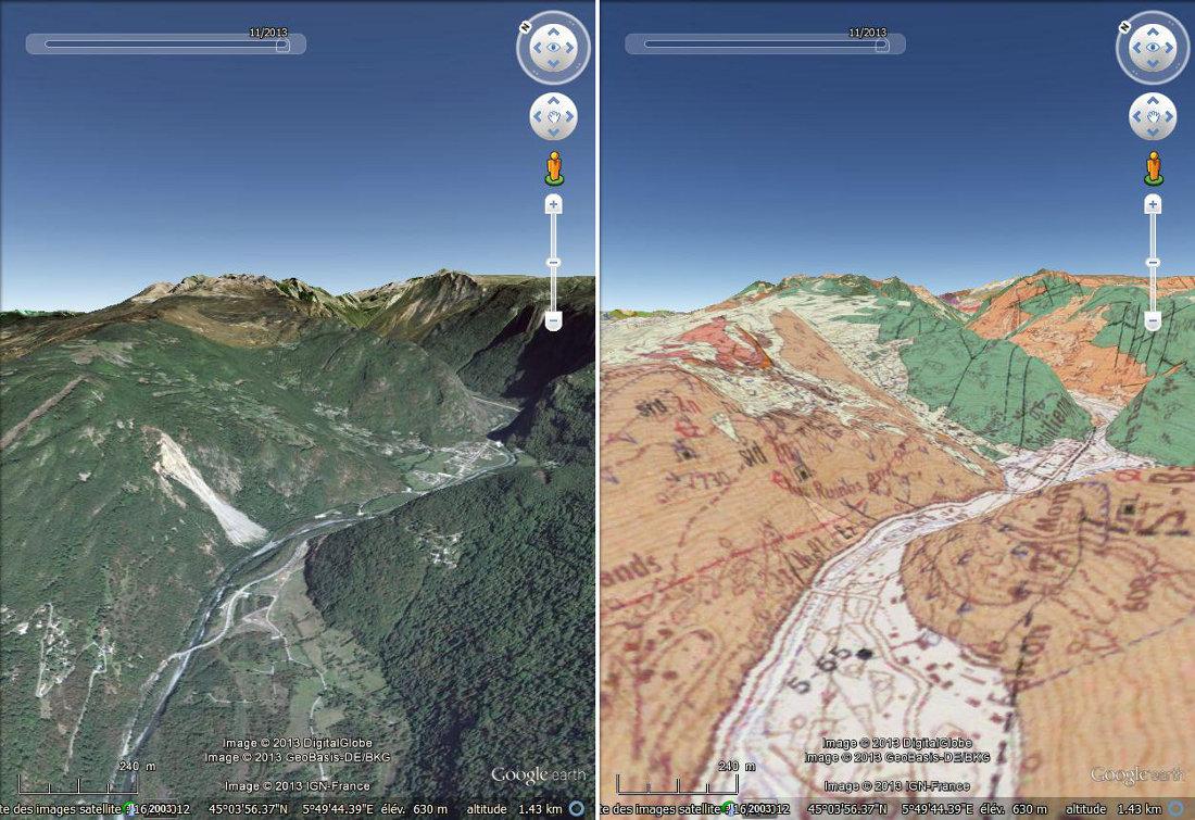 Situation des Ruines de Séchilienne dans la vallée de la Romanche (Isère)