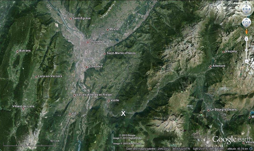 Localisation des Ruines de Séchilienne (Isère)