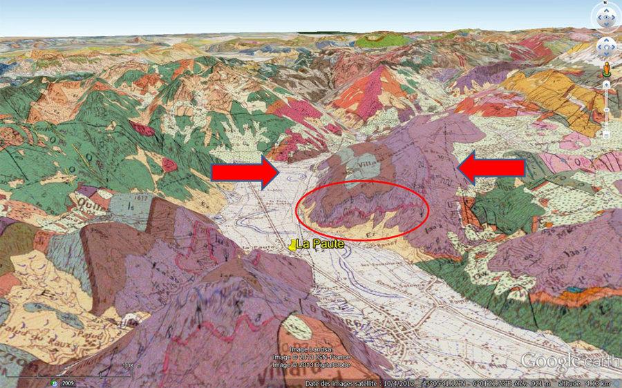 Carte géologique 3D de la région de Bourg d'Oisans – La Paute (Isère)