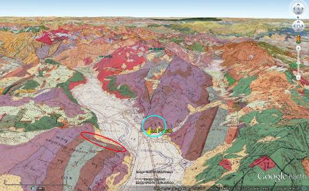 Localisation, sur fond de carte géologique, des affleurements photographiés depuis La Paute (Isère)