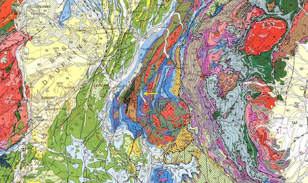 Localisation du secteur de La Paute - Bourg d'Oisans sur la carte géologique au 1/1.000.000 des Alpes occidentales (flèche jaune)
