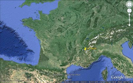 Localisation du secteur de La Paute - Bourg d'Oisans sur une image de la France