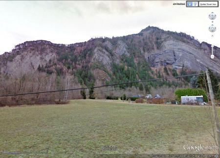 Image Google Street View des falaises de la Paute, Isère