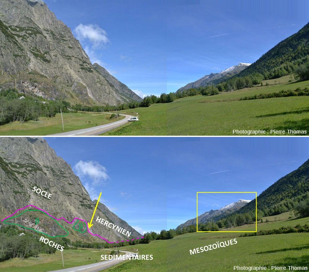 Vue globale, prise en direction du Nord, de la vallée de la Malsanne où est situé l'affleurement de la faille du Col d'Ornon