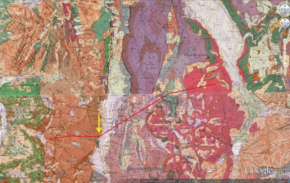 Carte géologique du secteur de la Chalp