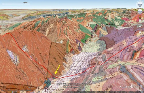 """Vue, sur fond """"3D"""", de la carte géologique du secteur de la vallée de la Malsanne"""