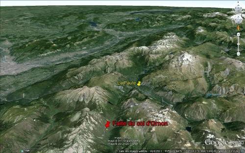 Localisation de l'affleurement de la Chalp (faille du col d'Ornon) et des plis de la Paute dans le secteur de l'Est du Massif de l'Oisans