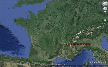 Localisation de la faille du Col d'Ornon et de la Paute dans les Alpes françaises
