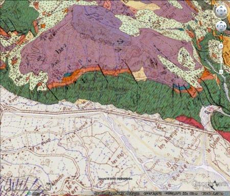 Carte géologique des rochers d'Armentier