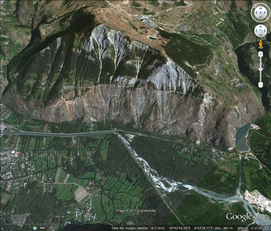 Vue Google earth des rochers d'Armentier