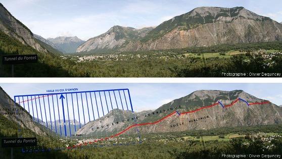 Panorama brut et interprété montrant les rochers d'Armentier, avec Trias discordant sur le socle hercynien et mini-failles normales, et la faille du col d'Ornon resitués dans le contexte de la vallée de la Romanche près de Bourg d'Oisans