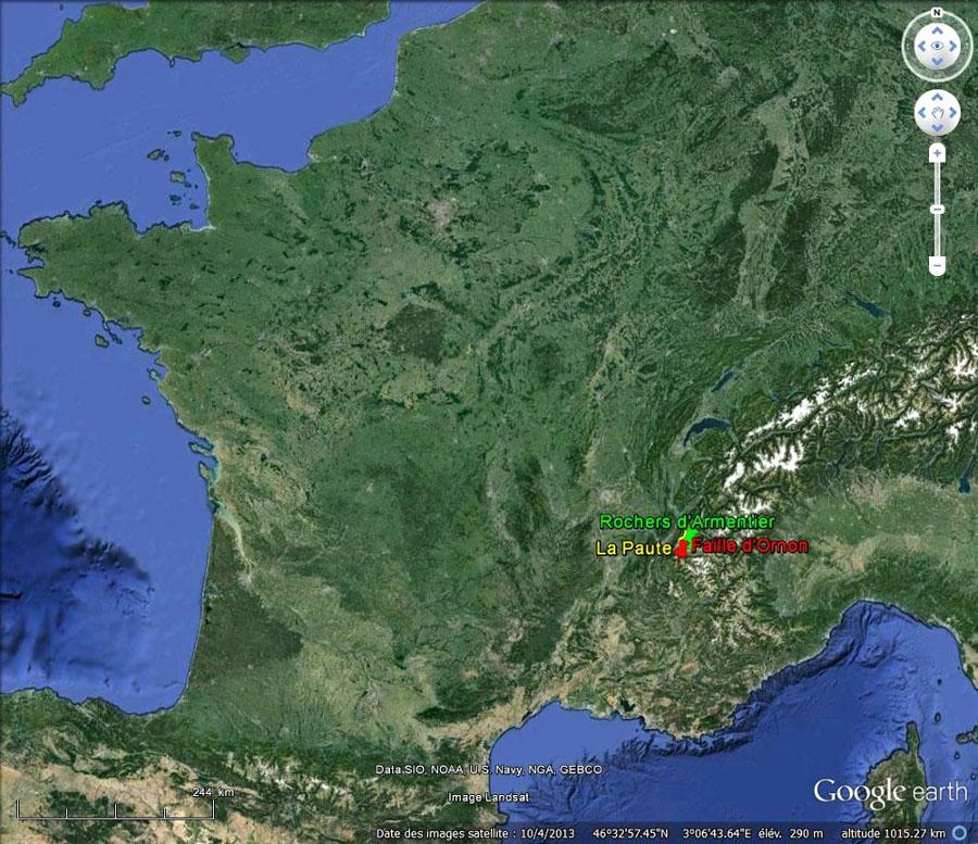 Localisation de La Paute, Ornon et Armentier