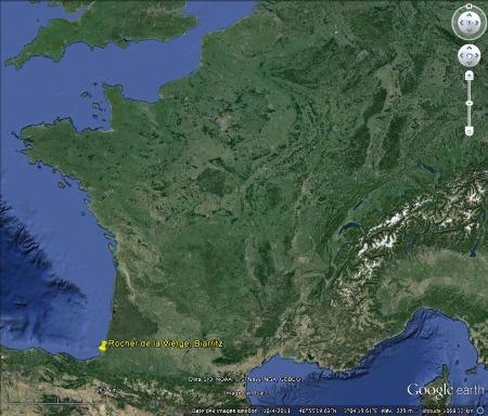 Localisation de Biarritz dans le Sud-Ouest de la France