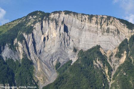 Le pli-faille du Ravin de Saint Antoine, au-dessus de Bourg d'Oisans, rive gauche de la Romanche (Isère)