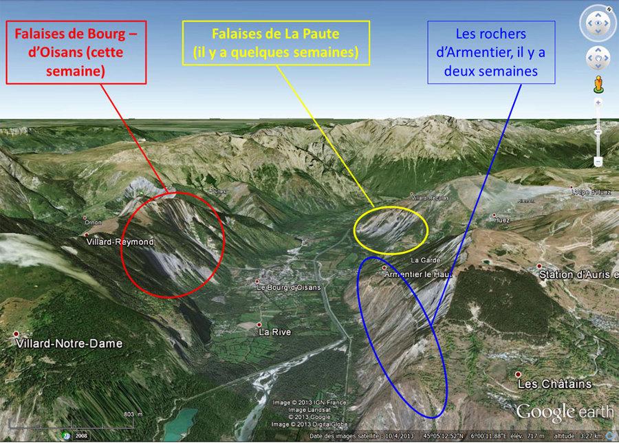 Vue sur les falaises de Bourg-d'Oisans (falaises du Ravin de St Antoine et falaises de la Roche du Pontet), les falaises de la Paute (avec les superbes plis) et les rochers d'Armentier (et leurs mini-blocs basculés)