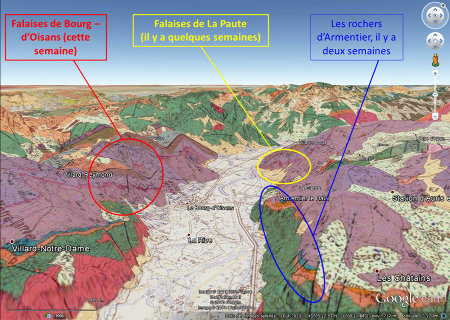 Carte géologique 3D des falaises de Bourg-d'Oisans (falaises du Ravin de St Antoine et falaises de la Roche du Pontet), des falaises de la Paute (avec les superbes plis) et des rochers d'Armentier (et leurs mini-blocs basculés)
