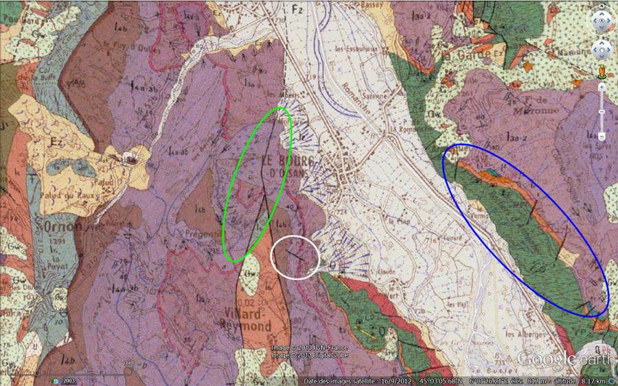Carte géologique (vue verticale) du secteur de Bourg-d'Oisans localisant le pli-faille du Ravin de St Antoine (cerclé de vert) et celui de la Roche du Pontet (cerclé de blanc)