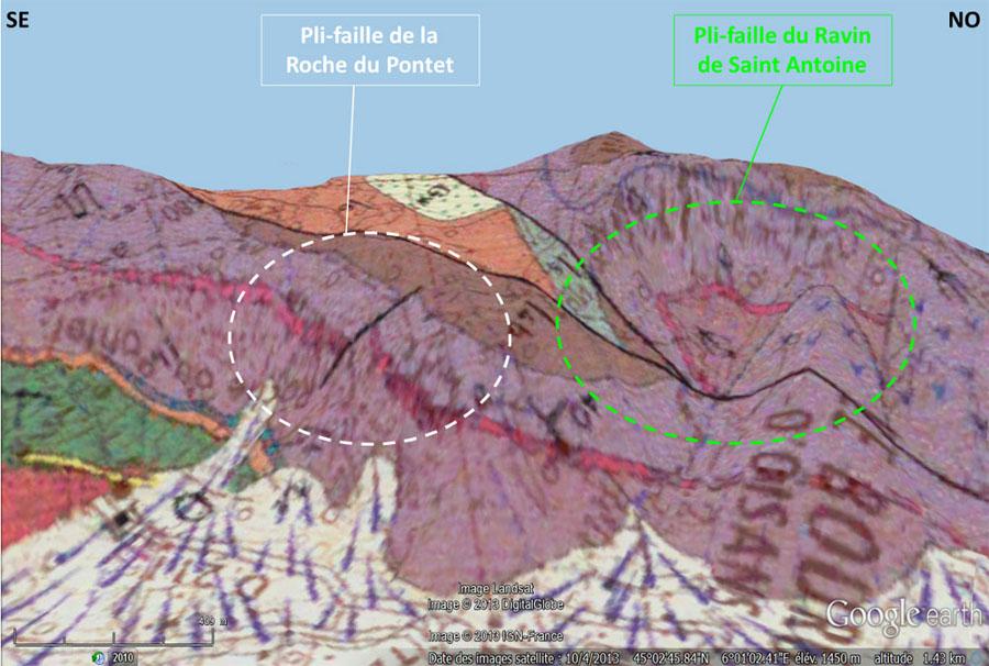 Carte géologique (vue oblique) du secteur de Bourg-d'Oisans localisant le pli-faille du Ravin de St Antoine (à droite, cerclé de vert) et celui de la Roche du Pontet (à gauche, cerclé de blanc)