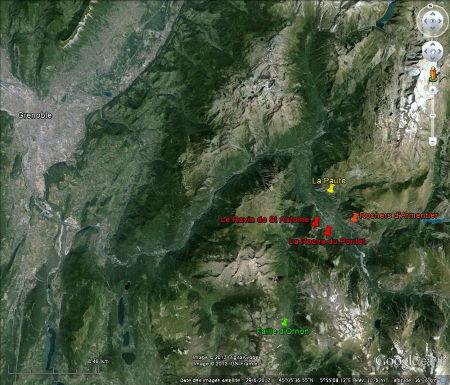 Localisation des affleurements des quatre semaines traitant de la région de Bourg-d'oisans
