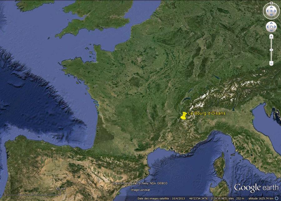 Localisation de Bourg-d'Oisans, Alpes françaises