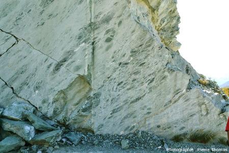 Vue d'une surface encore plus grande de la carrière de serpentinite du Val d'Aoste (Italie)