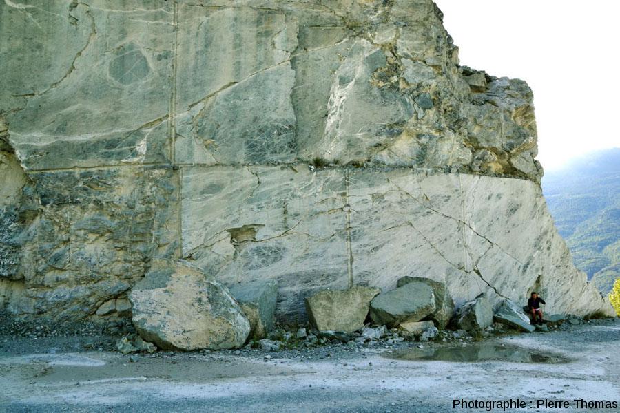 Vue globale de la totalité d'un flanc de la carrière de serpentinite de Chatillon (Val d'Aoste, Italie)