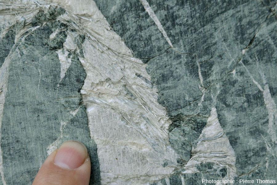 Détail sur le remplissage d'une fissure ouverte, carrière de serpentinite de Chatillon (Val d'Aoste, Italie)