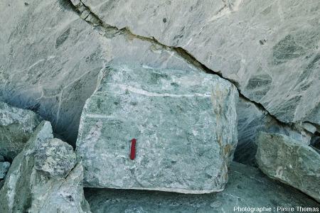 Un bloc de serpentinite parcouru par un petit filon de silice et/ou de calcite et d'amiante, carrière de serpentinite de Chatillon (Val d'Aoste, Italie)
