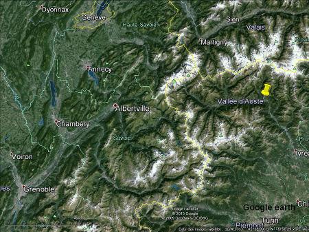 Les Alpes entre Grenoble, Genève et Turin