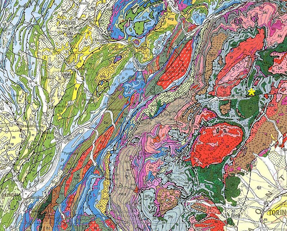 Extrait de la carte géologie de France au 1/1.000.000, les Alpes entre Grenoble, Genève et Turin