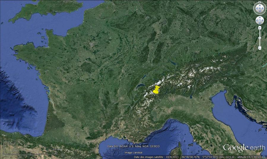 Localisation du Val d'Aoste (punaise jaune) dans la chaîne des Alpes