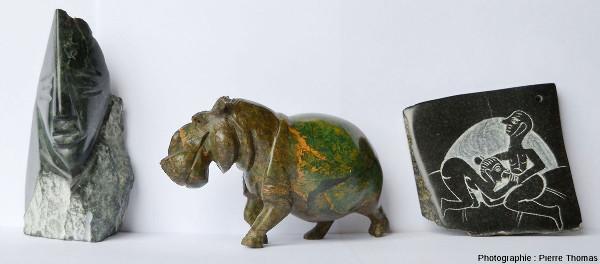 Trois sculptures en serpentinite - pierre ollaire
