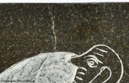 Gros plan sur la reproduction d'une plaque lycienne gravée, fabriquée dans une serpentinite - pierre ollaire