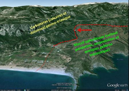 Contexte géologique du site de la Chimère, Cirali, Turquie