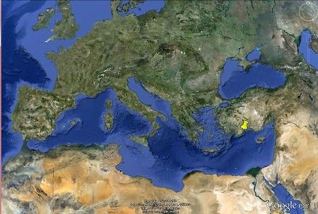 Localisation du site de la Chimère (punaise jaune) en Lycie, Sud de la Turquie