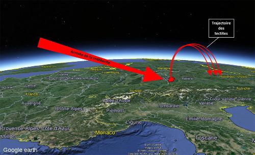 Trajectoires (théoriques et schématiques) des moldavites et de la météorite à l'origine du cratère du Ries (Ø= 25km)