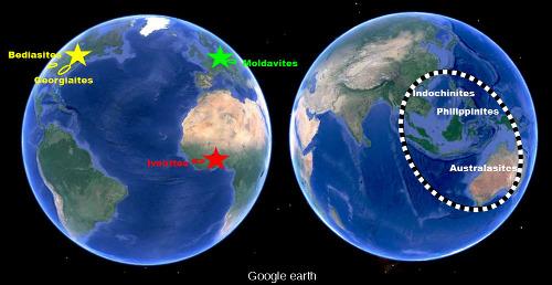 Localisation (approximative) des quatre champs de tectites du monde(ellipses): République tchèque, Sud des États-Unis, Côte d'Ivoire et Sud-Est asiatique (au sens large)