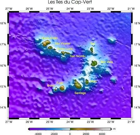 Carte bathymétrique et topographique du Cap-Vert